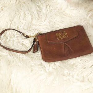 COACH Pouchette Wristlet Mini Mag Brown Leather